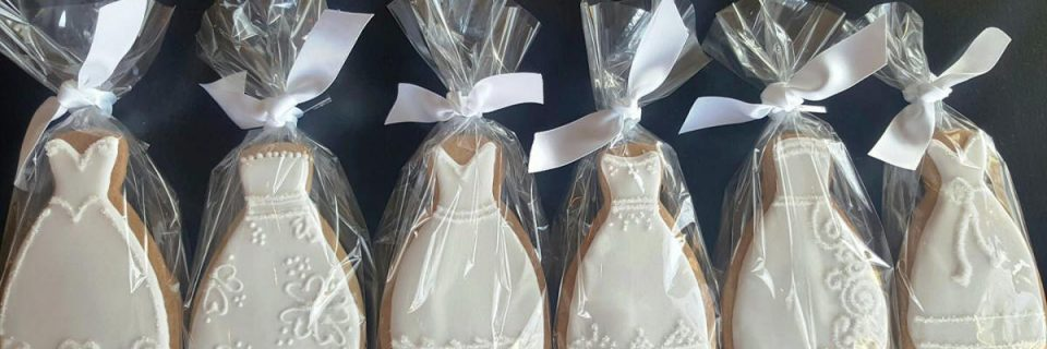 Hand Decorated Wedding Dress Cookies